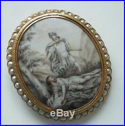 Antique Gold Sepia Seed Pearl Hand Painted Brooch