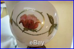 Antique Gone With The Wind Lamp Glass Hand Painted Roses Floral Pink Gold White
