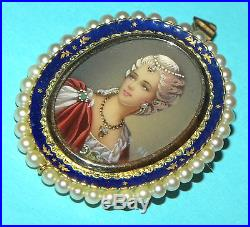 Antique Hand Painted Beauty Portrait Miniature Solid Gold Pearls Brooch Pendant