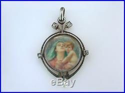 Antique Hand Painted Mother of Pearl Diamond & Pearl 14K Gold Victorian Pendant