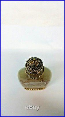 Antique Jade, Snuff Bottle, Hand Painted With Gold Plated Bronze