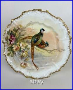Antique Limoges French Porcelain Hand Painted Pheasant Bird Scenic Gilded Plate