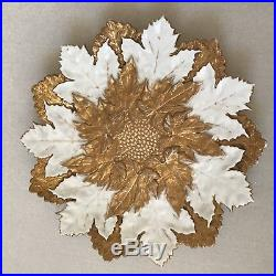 Antique Meissen Gold & White Cabinet Plates Hand Painted Grape Leaves Bas Relief