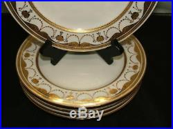 Antique Minton Burley Set Of 5 Hand Painted Gold Gilt Encrusted 8.75 Plates