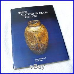 Antique Moser Blue Czech Glass Gold Enameled Flowers Butterfly Insects Vase