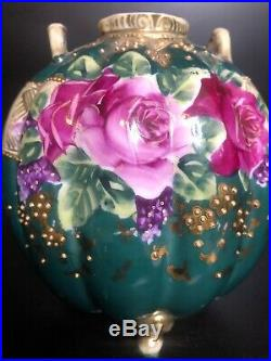 Antique Nippon Double Handled 3 Footed Vase Handpainted Roses Gold