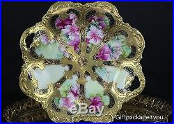 Antique Nippon Gold Gilt Hand Painted Serving Plate withHandle 11 x 10 NO RSVP