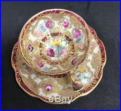 Antique Nippon Hand Painted Tea Cup & Saucer Set Gold Moriage Maple Leaf Mark