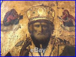 Antique Orthodox Rare Hand Painted Gold Plated St. Nicolas wooden icon