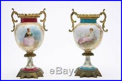 Antique Pair French Sevres Style Porcelain Hand Painted Urns Gilt Delys