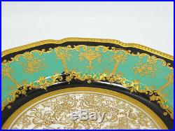 Antique Royal Doulton 4 Hand Painted Gold Encrusted Green Black Salad Plates'24