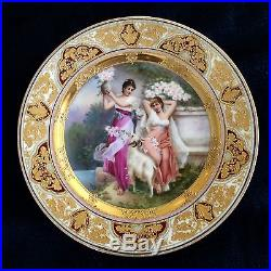 Antique Royal Vienna hand painted porcelain plate, magnificent gold, Wagner signed
