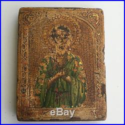 Antique Russian Hand Painted on Gold leaf Icon 19 th. Century