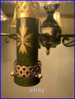 Antique Tole Chandelier, Green & Gold Hand Painted Light