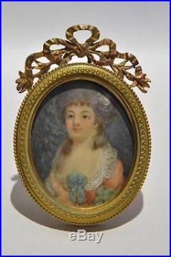 Antique Victorian Era French Bronze Picture Frame with a Hand Painted Picture
