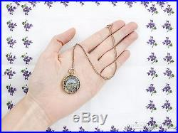 Antique Vintage Georigan 18k Gold Hand Painted Oil & Enamel Country Necklace
