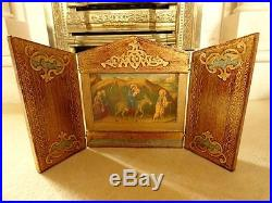 Antique french german icon catholic church wood handpainted gold lily flower (2)