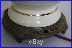 Antique pair french hand painted ornate porcelain gold leaf table lamp brass bas