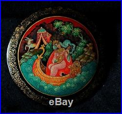 Antique russian handpainted Gold Palekh Lacquer box brooch tale horse boat lute