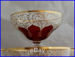 Antique set 12 Bohemian hand painted Moser style dessert footed bowl compotes