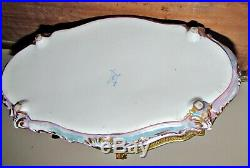Antique sevres hand painted scalloped box bronze mount woman cupid flowers gold
