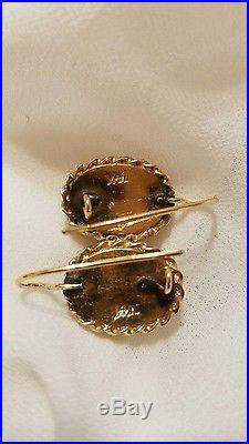 Antique vintage Victorian Portrait 14k Gold hand painted Earrings or cameo