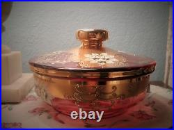 Antiqueegermann Czech Bohemian Glass Amethyst Gilded Painted Covered Bowl Dish