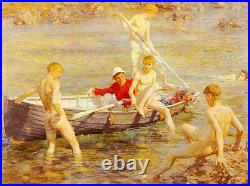 Art Oil painting Henry Scott Tuke gay Nude young boys Ruby Gold And Malachite