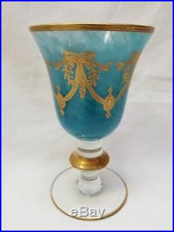 Arte Italica Medici 24kt Gold Encrusted Swag Champagne, Wine & Water Glass Set
