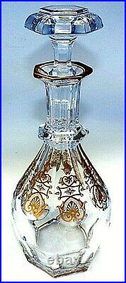 Baccarat Crystal France Art Glass Harcourt Gold Pattern Large Whiskey Decanter