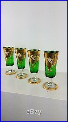 Bohemian Czech Cordial Green Art Glasses Moser Hand Painted Gold Floral Vintage