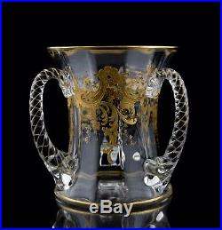 Bohemian Moser Type Gold Encrusted Glass Loving Cup 3-Handled Vase