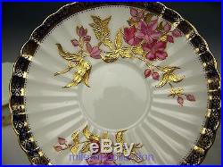 Brown Field Tiffany & Co Hand Painted Flower Raised Gold Tea Cup & Saucer Teacup