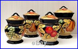 Canister Set 4 Piece Tuscan Inspired Fruit Design Hand Painted Kitchen Decor
