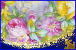 Cauldon Tiffany & Co Hand Painted Artist Signed Floral, Cobalt & Gold Plate C
