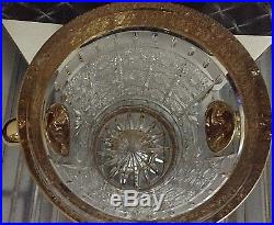 Czech bohemia crystal cut glass Luxury Ice Bowl 21cm decorated gold and engra