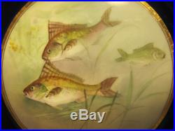 Doulton & Slater Hand-Painted Gold Encrusted Fish Plate signed C. Hart 1891-1901