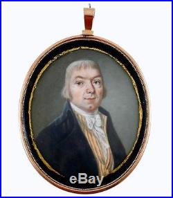 Early Antique Portrait Miniature, Hand Painted in 14k Gold Locket Style Frame