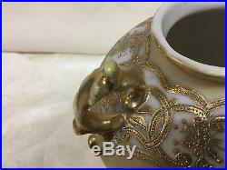 Early Nippon Porcelain Hand Painted Roses Vase Gold Gilt Beading Footed Noritake