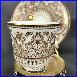 English Cauldon For Tiffany & Co NY Hand Painted Roses & Gold Cup & Saucer V407