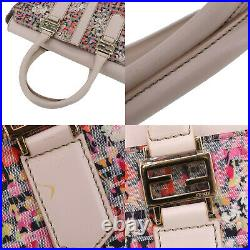 FENDI Zucca Pattern Tote Hand Bag Pink Multi-Color Canvas Italy Auth #AB902 O