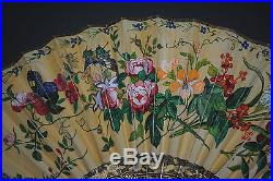Fine Antique Chinese Gold Gilt Lacquer Hand Painted Birds Flowers Scene Fan