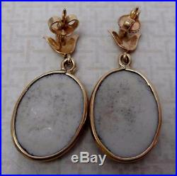 Fabulous Antique 14k Gold & Hand Painted Porcelain Pierced Earrings with ANGELS
