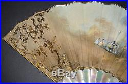 Fine Antique Vintage Carved Gold Inlay Mother Of Pearl Hand Painted Scene Fan
