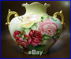 Fine Pouyat Limoges Pillow Vase With Hand Painted Roses & Gold Sgd C M Cook 1909
