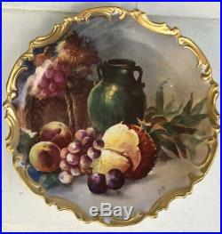 Flambeau Gold Limoges Hand Painted Artist Signed 13 Charger Plate