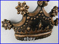GOLD Leaf Crown Wall Plaque, Old World, Medieval, Princess, Cross, Queen, Fleur