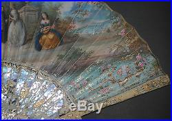 Gorgeous Antique 18th French Gold Mother Of Pearl Rococo Hand Painted Scene Fan