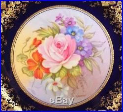 GORGEOUS Aynsley Hand Painted Flowers Cobalt and Gold Plate Signed by Bentley