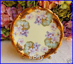 Gorgeous Antique Limoges Porcelain Hand Painted Plate Gold Encrusted